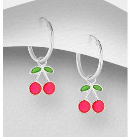 Sterling Sterling Cherry Hoop Earrings
