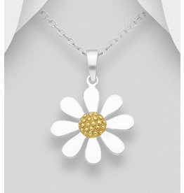 Sterling Sterling & Gold Plated Daisy Necklace