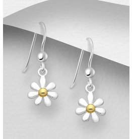 Sterling Sterling Daisy Earrings, Gold Plated