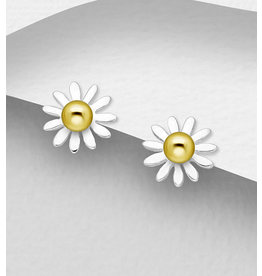 Sterling Studs-Sterling & Gold Plated Daisies