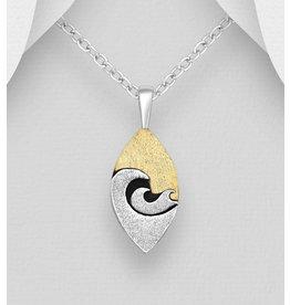 Sterling Sterling & Brass Wave Pendant Necklace