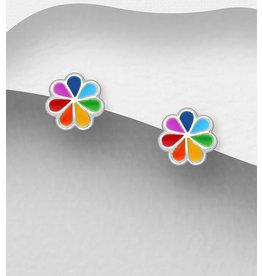 Sterling Studs:  Rainbow Flowers
