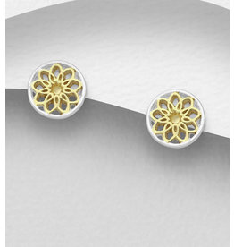 Sterling Sterling and 14K Gold Floral Studs