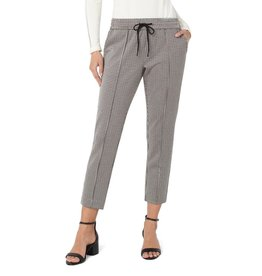 Liverpool Pull On Ankle Pant - Khaki Houndstooth