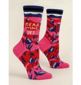 Blue Q Ladies Crew Socks- Dear Wine, Yes