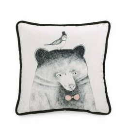 Pillow- Blk and White W/Bird and Bear