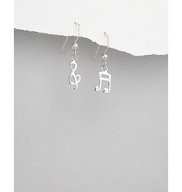 Sterling Earring- Music Notes