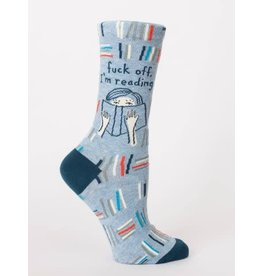 Blue Q Crew Socks-F Off I am Reading