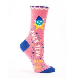 Blue Q Crew Socks-F*ck Yeah Kind of Day