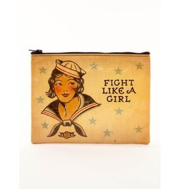 Blue Q Zipper Pouch- Fight Like A Girl