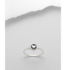 Sterling Sterling Ring- Circle W/Heart