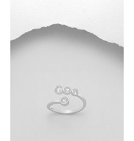 Sterling Ring- Adjustable W/CZ