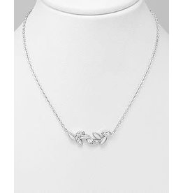 Sterling Necklace- Leaf W/Cz