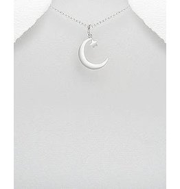 Sterling Sterling Silver- Moon W/Star Pendant Necklace