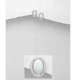 Sterling Studs- Oval opal