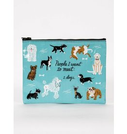 Blue Q Zipper Pouch-People I Want to Meet