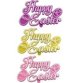 """PFEIL & HOLING HAPPY EASTER PLAQUE 3"""" ASST BOX 48 CT"""