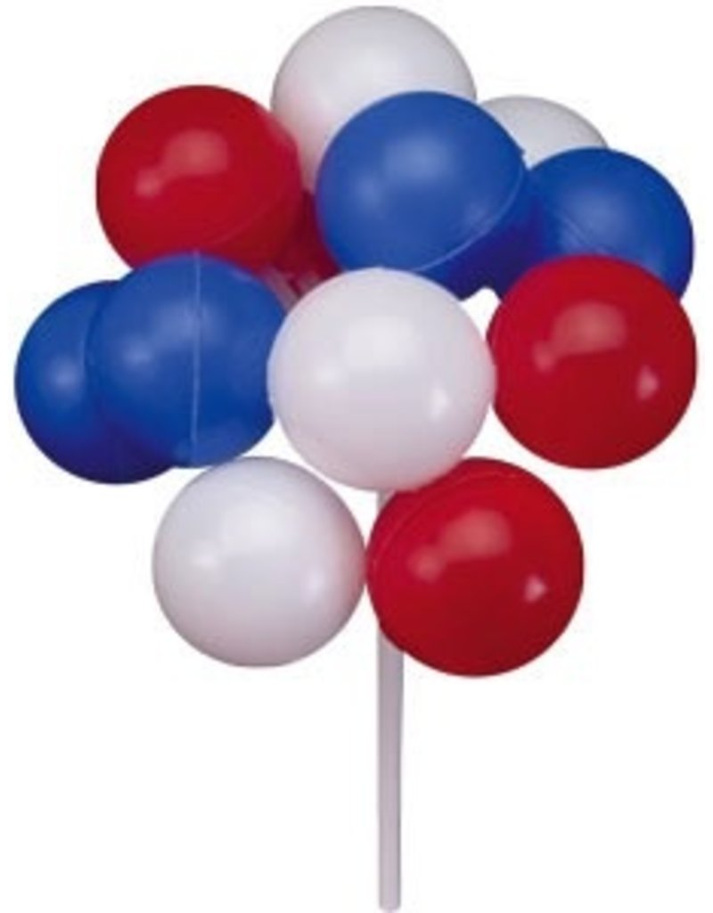 PFEIL & HOLING RED, WHITE & BLUE BALLOON CLUSTERS 7'' BOX 36 CT