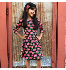 Ann Loren Poinsetta Swing Dress - Girls