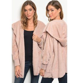 Turning point Faux fur hooded cardigan O/S