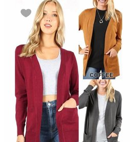 Zenana Open cardigan sweater w/pockets