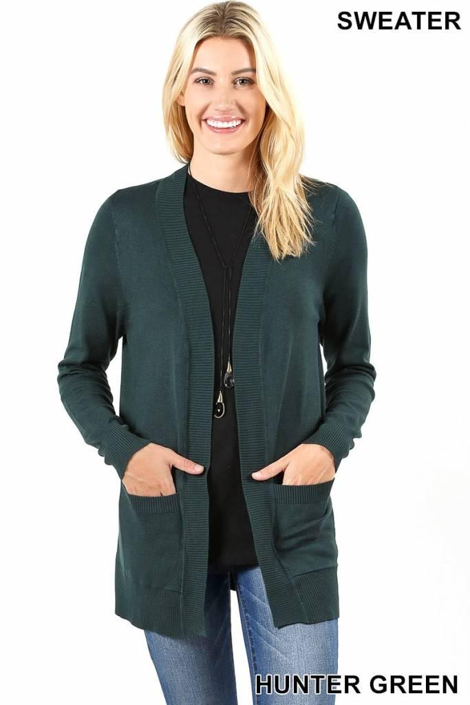 Zenana Open cardigan sweater w/pockets