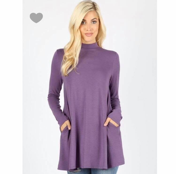Zenana Mock neck top w/side pockets