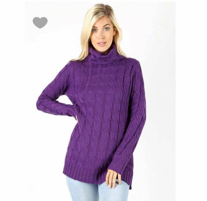 Zenana Oversized neck cable knit sweater