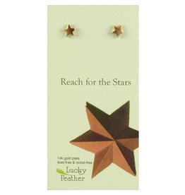 Lucky Feather Pretty Moon Earrings - Gold - Star