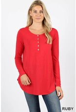 Zenana Dolphin Hem button top
