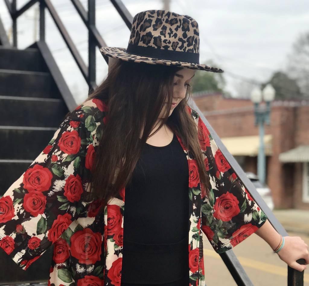 Crazy Train Rose Kimono
