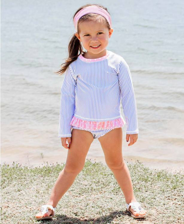Ruffle Butts Long Sleeve Rash Guard Bikini