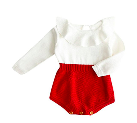 Elsa Bella Baby Claire Knitted Romper White/Red