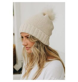 Leto Accessories Sherpa Lined Pom Beanie