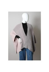 Leto Accessories Faux Mohair Colorblock Knit Ruana