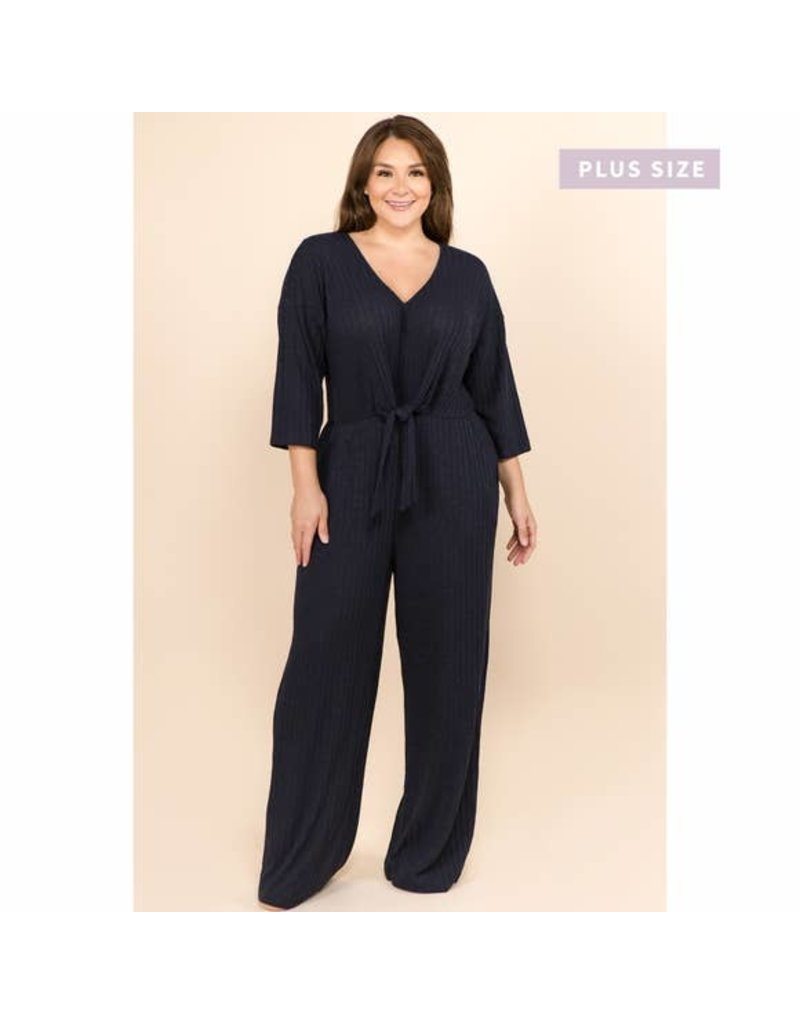 PLUS SIZE COZY SOFT KNIT JUMPSUIT