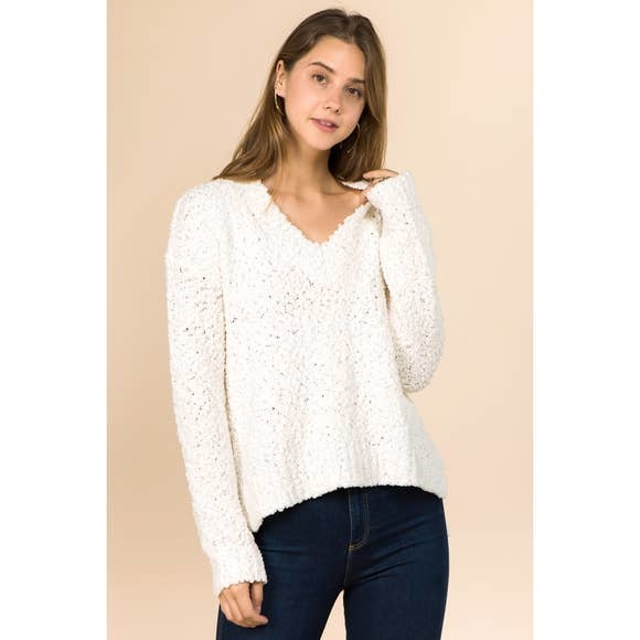 WINSLOW COLLECTION POPCORN SWEATER - IVORY