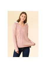WINSLOW COLLECTION MIXED CABLE SWEATER W/SHERPA HOOD