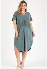 FRONT-TIE S/S DRESS