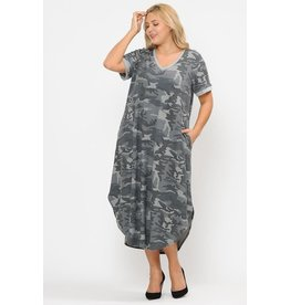 TERRY CAMO DRESS W/HIDDEN POCKET
