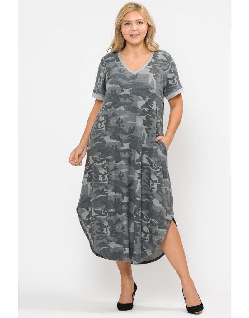 TERRY CAMO DRESS W/HIDDEN POCKET
