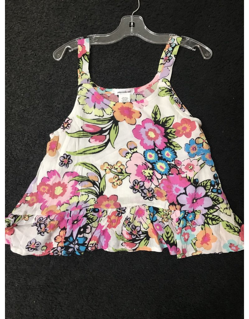Area Code 407 Floral top with Ruffle