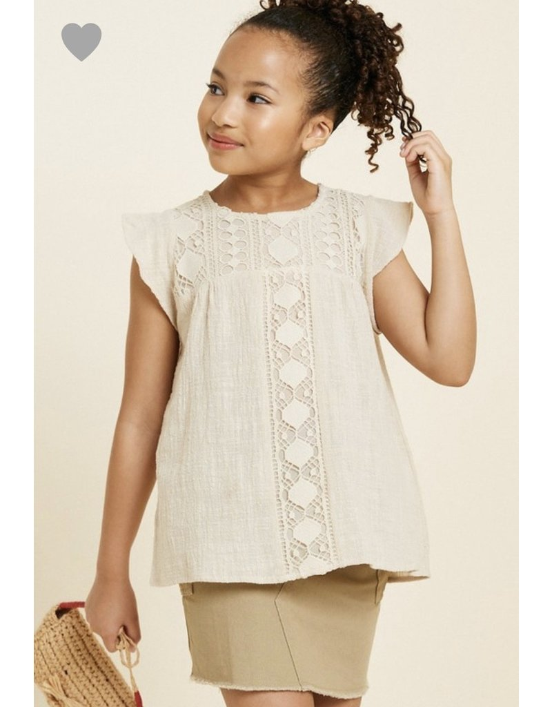 Hayden Los Angeles Crochet Flutter Sleeve top