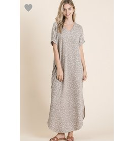 Animal Print v-neck maxi dress