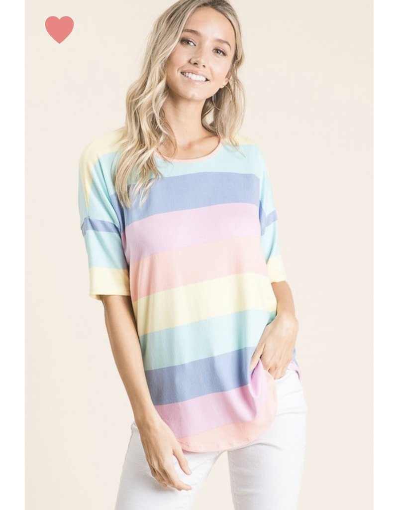Multi-color stripe top