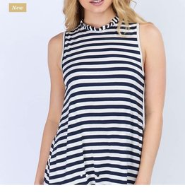 12PM RUFFLE NECK STRIPED TOP