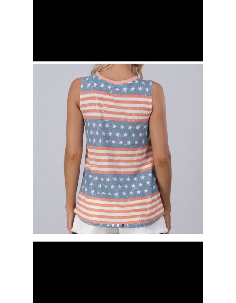 Urban Daizy American Flag Crewneck Sleeveless top