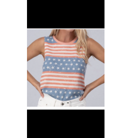Urban Daizy American Flag Crewneck Sleeveless top