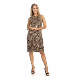Chris & Carol Apparel Midi Leopard Sleeveless dress