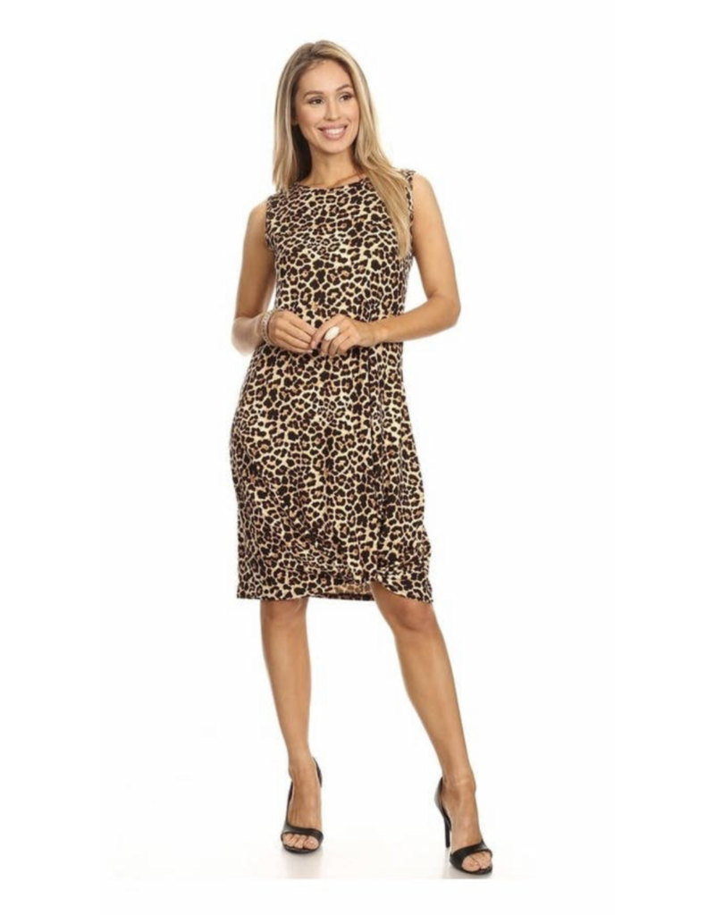 Chris & Carol Apparel Midi Leopard Sleeveless dress